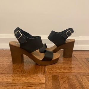 Madden - Wooden clog leather wedges
